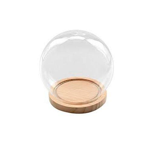 Esfera de vidrio con base de madera